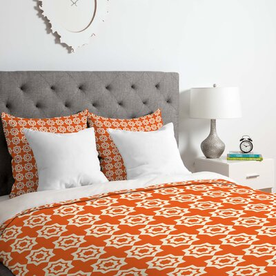 Duvet Cover Set Color: Orange, Size: Queen