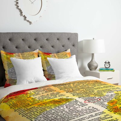 Pretty Dictionary Art Duvet Cover Set Size: Queen