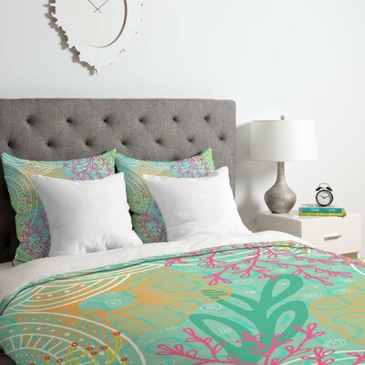 Ocean Bloom Duvet Cover Set Size: Twin/Twin XL