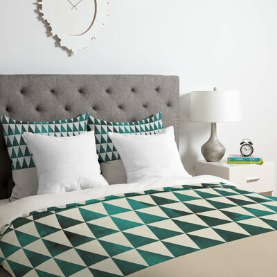 Georgiana Paraschiv Teal Triangles Duvet Cover Set Size: Queen