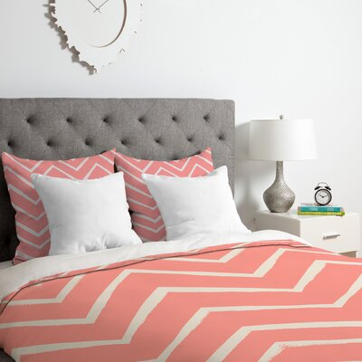 Distressed Chevron Duvet Cover Set Size: Queen