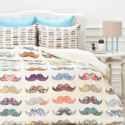 Mustache Mania Duvet Cover Set Size: Queen