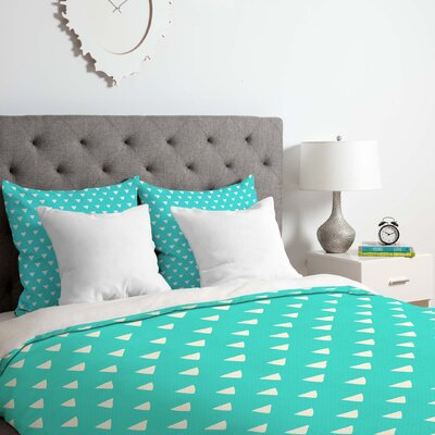 Geometric Confetti Duvet Cover Set Color: Teal, Size: King