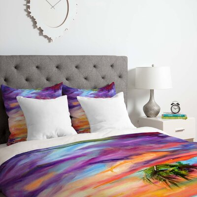 Fine Art Florida Palms Beach Duvet Cover Set Size: Twin/Twin XL