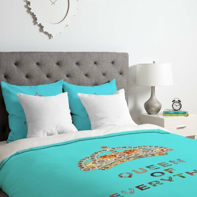 Queen of Everything Duvet Cover Set Size: Twin/Twin XL, Color: Blue