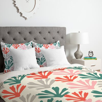 Scattered Coral Duvet Cover Set Size: King