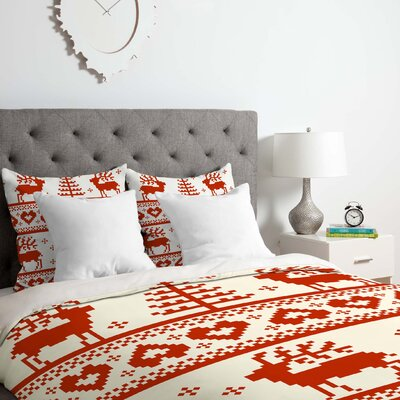 Knitting Red Deer Duvet Cover Set Size: Queen