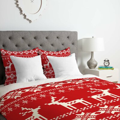 Christmas Red Deer Duvet Cover Set Size: King