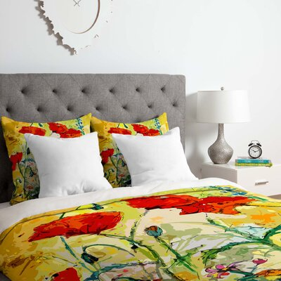 Fine Art Poppies Provence Duvet Cover Set Size: Queen