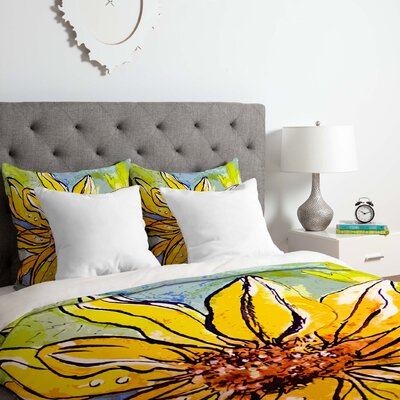 Ginette Fine Art Sunflower Ribbon Duvet Cover Set Size: Queen