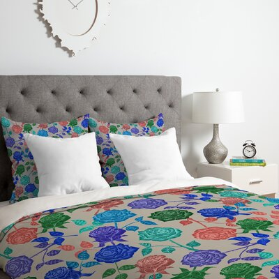 Roses Duvet Cover Set Color: Blue, Size: Queen