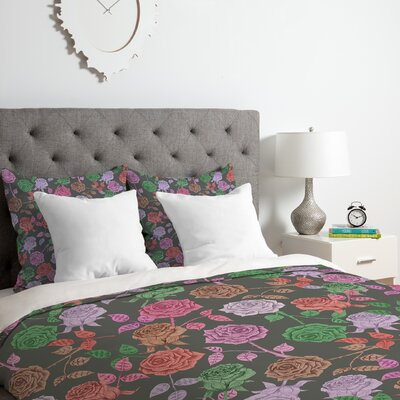 Roses Duvet Cover Set Color: Vintage, Size: King