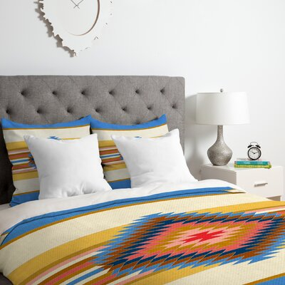 Bianca Fiesta Duvet Cover Set Color: Blue, Size: Queen