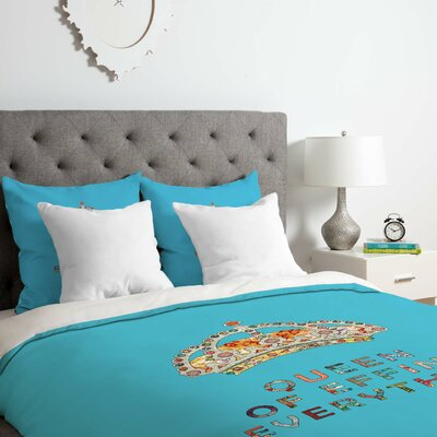 Her Daily Motivation Duvet Cover Set Color: Blue, Size: Queen