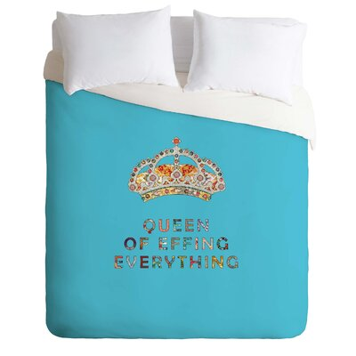 Her Daily Motivation Lightweight Duvet Cover Color: Blue, Size: Queen