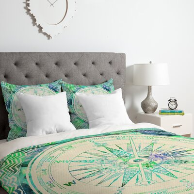 Follow Your Own Path Mint Duvet Cover Set Size: Queen