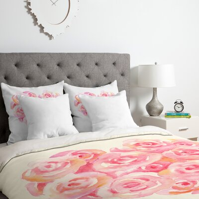 Rose Heart Duvet Cover Set Size: Queen
