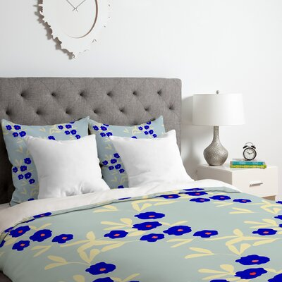 Blue Bells Duvet Cover Set Size: Queen