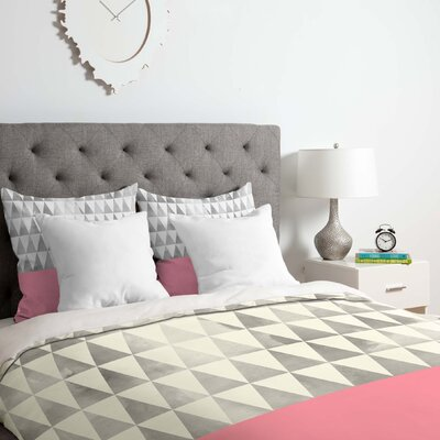 Silver Triangles Duvet Cover Set Size: Queen