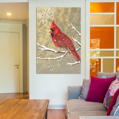 Winter Birds Series: Cardinal I Painting Print on Wrapped Canvas