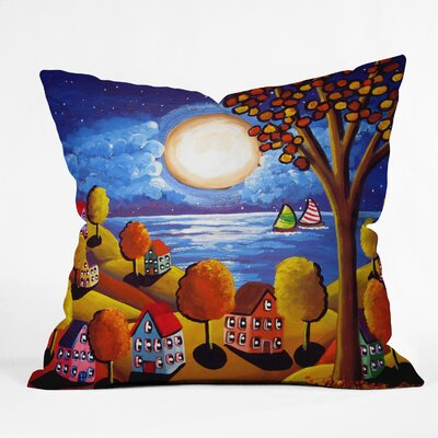 Fall Night Sail Throw Pillow Size: 16 H x 16 W x 4 D