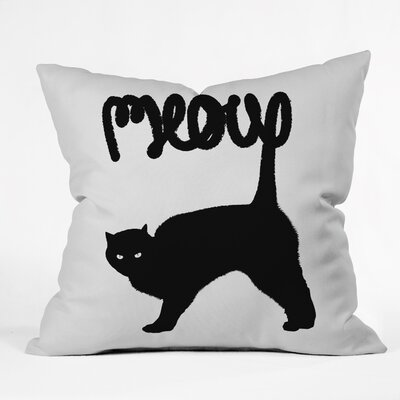 Meowww Throw Pillow Size: 18 H x 18 W x 5 D