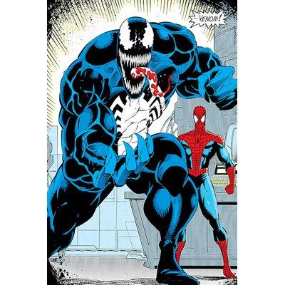 'Marvel Comics Retro Venom' by Marvel Comics Graphic Art on Wrapped Canvas ESRB3762 34366505