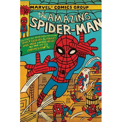 "'Marvel Comics Retro the Amazing Spider-Man' by Marvel Comics Graphic Art on Wrapped Canvas Size: 18"" H x 12"" W x 1.5"" D ESRB3768 34366557"
