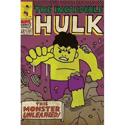 'Marvel Comics Retro the Incredible Hulk' by Marvel Comics Graphic Art on Wrapped Canvas MRV1410-1PC3-12x8