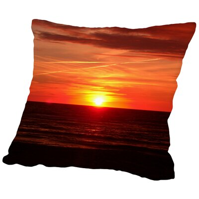 Colorful Sunset With Ocean Throw Pillow Size: 16 H x 16 W x 2 D