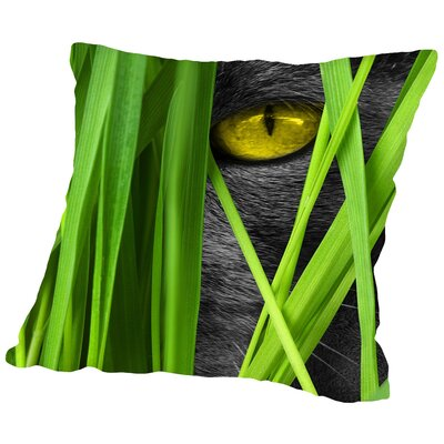 Cat With Grass Landscape Throw Pillow Size: 14 H x 14 W x 2 D