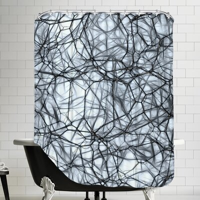Healthy Neurons Biology System Cell Shower Curtain Color: Black