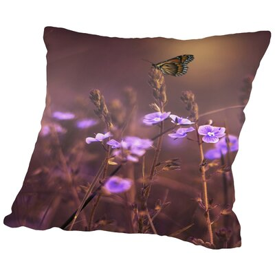 Flower with Butterfly Throw Pillow Size: 20 H x 20 W x 2 D