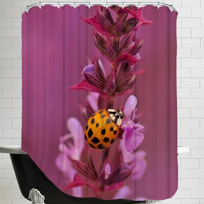 Flower with Ladybug Shower Curtain