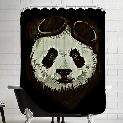 Panda Bear Shower Curtain Color: Black