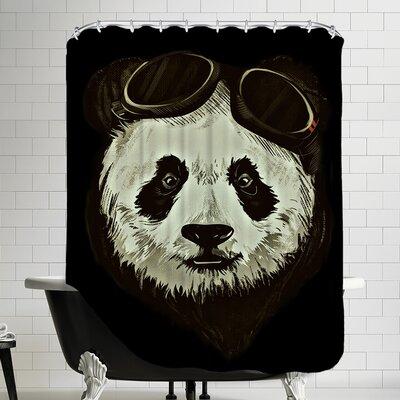 Panda Bear Shower Curtain Color: Black