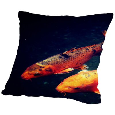 Koi Fish Sealife Underwater Throw Pillow Size: 20 H x 20 W x 2 D