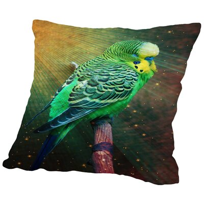 Budgie Bird with Stars Throw Pillow Size: 14 H x 14 W x 2 D