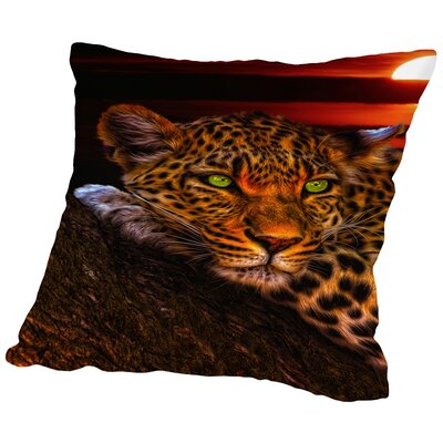 Gepard Leopard Sunset Animal Cat Throw Pillow Size: 14 H x 14 W x 2 D