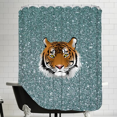 Tiger Cat Sparkly Polyester Shower Curtain Color: Blue