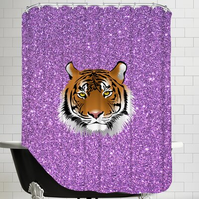 Tiger Cat Sparkly Polyester Shower Curtain Color: Purple