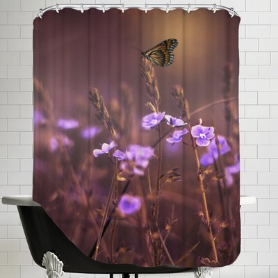Flower with Butterfly Shower Curtain