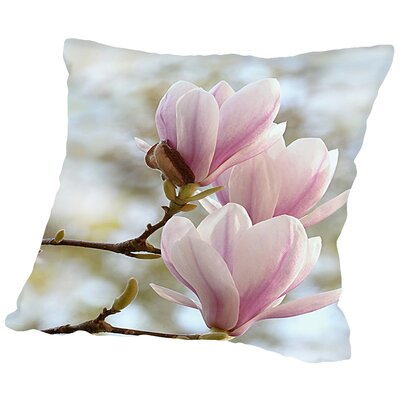 Magnolia Flower Bloom Throw Pillow Size: 16 H x 16 W x 2 D