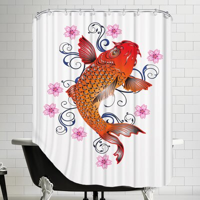 Orange Koi with Floral Design Shower Curtain