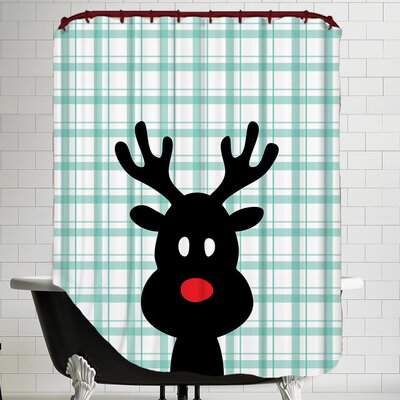 Reindeer Christmas Print Shower Curtain