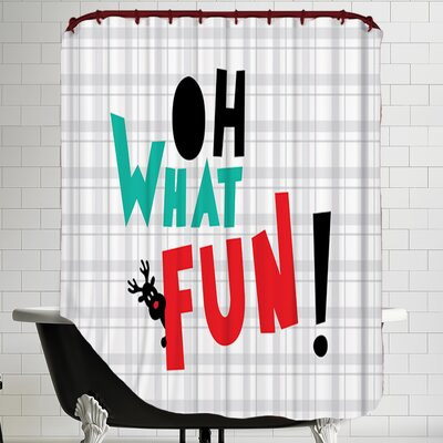 Oh What Fun Christmas Print Shower Curtain