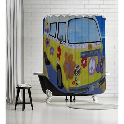The VW Volkswagen Bully Series The Lady Flower Power Surf Bus Shower Curtain