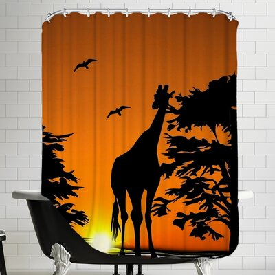 Wildlife Giraffe with Sunset Shower Curtain
