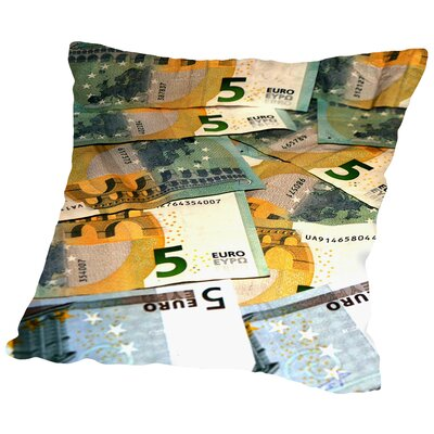 European Money Euro Throw Pillow Size: 16 H x 16 W x 2 D