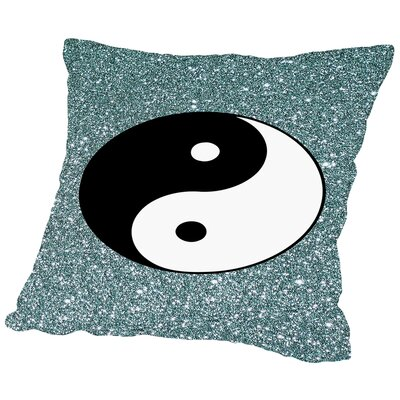Shiny With Ying And Yang Polyester Throw Pillow Size: 14 H x 14 W x 2 D